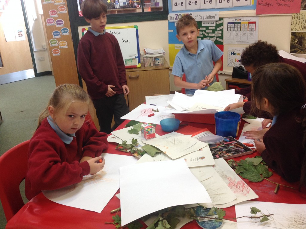 Leaf Printing in Willow – St Blaise Primary School