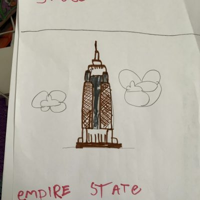 Snoee also drew a picture of The Empire State Building.
