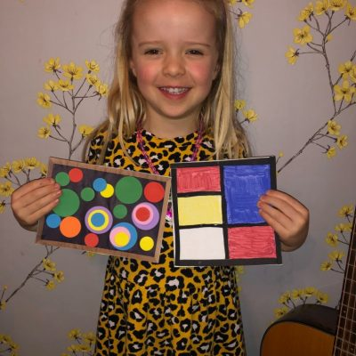 Evie has created some great art work using different shapes, in the style of Kandinsky and Mondrian.
